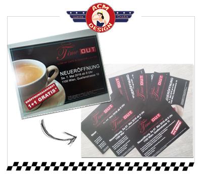 Werbe-Flyer für Kaffeehaus in Wien