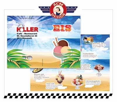 Eiskarte für Restaurant